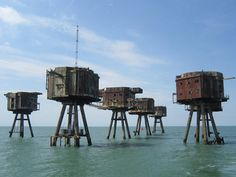 Abandoned WWII Maunsell Forts. Since 2003, Project Redsands has been working on their preservation for the future.
