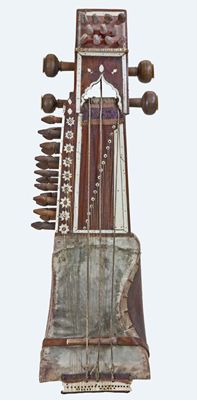 Short-necked lute (sarangi), northern India, 19th century. A concert sarangi used to play Hindustani classical music. The performer sits cross-legged on the floor with the instrument held vertically in front of the player. The strings are stopped laterally with the fingernails of the left hand.