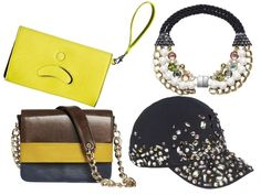 Bags, bib and bejeweled cap from HM fall 2012 accessories