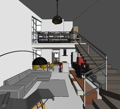 Loft Stairs Industrial Modern Staircase Ideas For 2019 Tiny House Layout, Tiny House Design, House Layouts, Loft Interior Design, Loft Design, Design Design, Loft Stairs, House Stairs, Mini Loft
