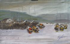 signed original oil harborscape listed Kevin F. Doyle Foochow sailboats anchored #Impressionism