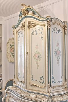 Lovely beautiful  highboy painted in ivory and blues...gorgeous !