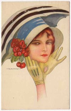 Nanni Artwork Postcard of an Art Deco Woman in a Large Hat with Cherries