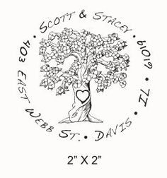 Flowering tree with carved heart custom return address rubber stamp. Etsy. $18. Would be a nice newlywed, housewarming gift.