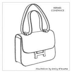 HERMES - CONSTANCE BAG - Designer Handbag Illustration / Sketch / Drawing / CAD / Borsa Disegno