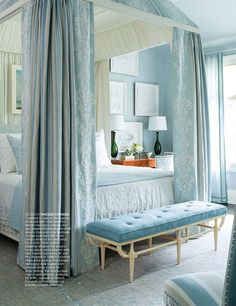 This dreamy blue-and-ivory bedroom captures the essence of air and light. Design by Phoebe Howard. Coastal Bedrooms, Guest Bedrooms, Luxury Bedrooms, Small Bedrooms, Master Bedrooms, Blue Rooms, Blue Bedroom, Blue Bedding, Teen Bedroom