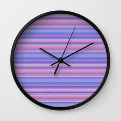 Stripes pink and purple Wall Clock by Christine Bässler