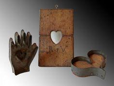 Miniature folk heart objects, probably Eastern American, ca. 1st half, 19th century.