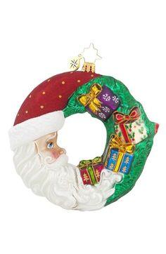 Christopher Radko 'Crescent Christmas Present' Santa Ornament available at #Nordstrom