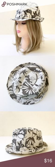 "Cotton Fedora with Paisley Floral Print❤️ 100% cotton. Classic fedora design. 4 3/4"" rise. 1 1/2"" brim. Interior circumference: 22"", I would say it's large. Light padded feel. This item is new without tags. Colors ivory and mushroom ( brownish grey).❤️ Accessories Hats"
