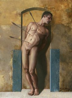 """Saint Sebastian"" (35,5x22,8 olio su tavola) John Wellington (Santa Monica, California 1961)"