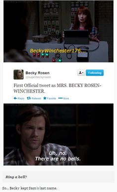 So... Becky kept Sam's last name. [gifs] #Supernatural <<< I think Becky was BeckyWinchester online even before she went completely off the ranch and used the love potion on him. #justmyheadcanon