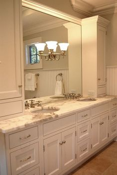 Is your home in need of a remodel? Give your bathroom design a boost with a little planning and our inspirational bathroom remodel ideas. Whether you're looking for bathroom remodeling ideas or bathroom pictures to help you update your old one Bathroom Renos, Bathroom Storage, Bathroom Cabinets, Bathroom Vanities, White Bathroom, Shower Bathroom, Bathroom Organization, Glass Bathroom, Bathroom Hardware