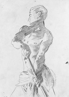 Human Figure Drawing John Singer Sargent - Man with Loincloth - Human Figure Drawing, Figure Sketching, Figure Drawing Reference, Life Drawing, Drawing Sketches, Painting & Drawing, Art Drawings, Sargent Art, Gesture Drawing