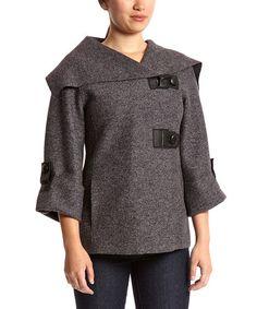 Look at this #zulilyfind! Granite Leather-Trim Julia Alpaca-Wool Blend Jacket by Beyond Threads #zulilyfinds