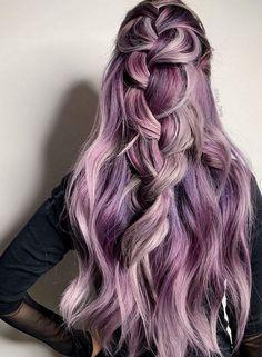 42 Unique Spring Hair Color Ideas For Brunettes Lavender Hair Colors, Hot Hair Colors, Lilac Hair, Hair Color Purple, Color Your Hair, Cool Hair Color, Brown Hair Colors, Golden Brown Hair Color, Brown Blonde Hair