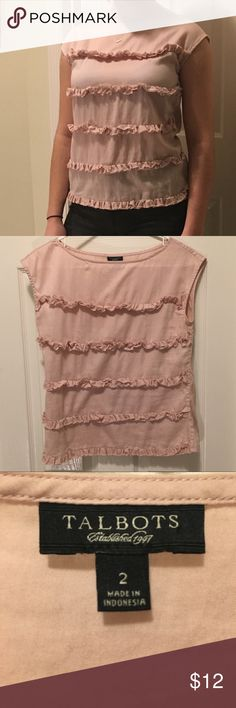 Talbots Blush Ruffled Blouse Semi- sheer, best if worn with a neutral colored bra or cami, barely worn, nonsmoking house // Willing to bundle with other items! Talbots Tops Blouses