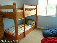Kid Bedroom Re-do On a Budget | Six Sisters' Stuff - Idea for low to the ground bunk bed