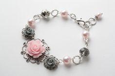 vintage style flower bracelet - Shabby chic bracelet - greyl and pink bracelet - vintage bracelet - pearl and flower - cabochon bracelet