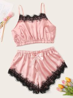 Special Offer for Womens Sexy Lace Stain Sleepwear Set Fashion Sleeveless Bowknot Shorts Nightwear Pajamas Camison Mujer Verano 2019 Hot Sal. Cute Sleepwear, Sleepwear Sets, Sleepwear Women, Lingerie Sleepwear, Lingerie Set, Nightwear, Women Lingerie, Cute Pajama Sets, Cute Pajamas