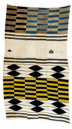 Africa Cloth from Sierra Leone Cotton; woven in six strips, with horizontal bands of decoration in black, gold, brown and blue, with bird and comb motifs on a cream background Art Textile, Textile Fabrics, Textile Patterns, Textile Prints, Textile Design, Lino Prints, Floral Patterns, Block Prints, Cotton Textile