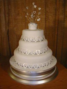 Exclusive Wedding Cakes :: Shimmering Silver Hearts 3 Tier Wedding Cake