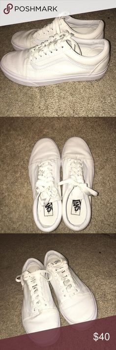 White Vans White vans in almost perfect condition. Worn once Vans Shoes Sneakers
