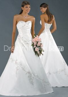 Elegant A-Line Strapless Floor-Length Chapel Appliques Satin Wedding Dress