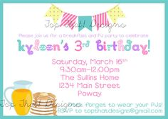 Pancakes and Pajama Party Invitation Printable by jenleonardini, $12.00
