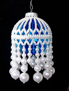 BEAUTIFUL WHITE FAUX PEARL BEADED CHRISTMAS BALL ORNAMENT COLLAR. $8.00, via Etsy.