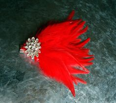Small Red Feather Hair Accessory by stylesbym on Etsy