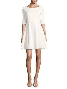 H Halston Elbow-Length Sleeve A-Line Dress