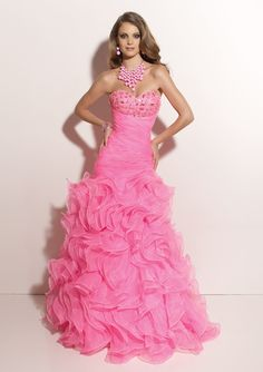 Ice Pink Ruffled A-line Sweetheart Organza Quinceanera Dress