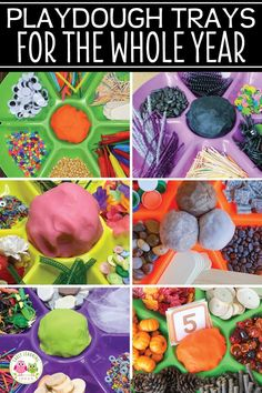 Find LOTS of ideas to put together playdough trays for the whole year. Your kids will love the unique materials in these playdough invitations to play. Preschool Classroom, Kindergarten Activities, Preschool Activities, Early Learning Activities, Fun Activities For Kids, Playdough Activities, Motor Skills Activities, Fine Motor Skills, Learning Through Play