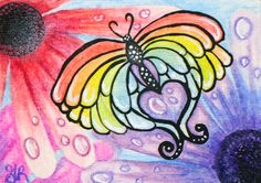 ACEO SPRING2015 RAINBOW BUTTERFLY RED BLUE PURPLE PINK DAISY RAIN PAINTING #Miniature