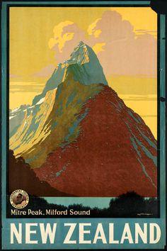 New Zealand, vintage travel poster