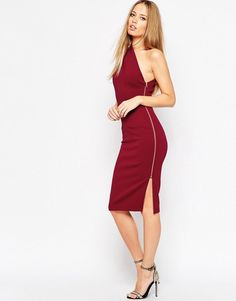ASOS COLLECTION ASOS One Shoulder Midi Dress With Exposed Zip Women s  Evening Dresses 28ee1ac25fd9