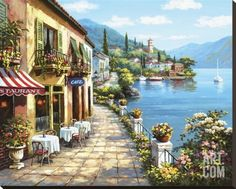 Overlook Cafe I Stretched Canvas Print by Sung Kim at Art.com