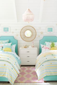 Let the bright colors of summer shine all year long with blue upholstered beds and cool yellow bedding that have subtle touches of the beach. Pair with rattan accessories and pieces of the tropics like flamingos and pineapples to complete the look.