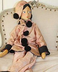 poupee boudoir   1920's French Silk Face Poupee de Boudoir Doll Pink Pierrot Pierette