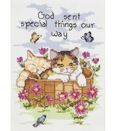 """Janlynn God Sent Special Things Counted Cross Stitch Kit-5""""X7"""" 14 Count"""