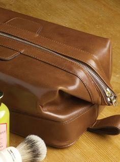 ben silver:  leather dopp kit