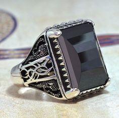 925 Sterling Silver Men Ring with Amethyst zirconia size US10 free resizing #KaraJewels #Turkish