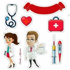 Luiz Sérgio Doctor Party, Doctor Cake, Printable Stickers, Cute Stickers, Nursing Printables, Medical Cake, Cupcake Toppers Free, Medical Wallpaper, Glass Centerpieces
