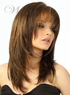 Vintage Hairstyles With Bangs Medium Brown Straight Human Hair Wigs - If you're looking for Medium Brown Straight Human Hair Wigs, HoWigs is the perfect choice. Order Human Hair Wigs at professional online shop. Medium Hair Cuts, Long Hair Cuts, Haircut Medium, Medium Hair Styles With Layers, Medium Hairs, Medium Cut, Wig Hairstyles, Straight Hairstyles, Hairstyle Ideas