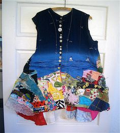 BOHEMIAN COUTURE // Seashore Frock Dress //  Wearable Art  // Recycled Vintage Fabrics // mybonny