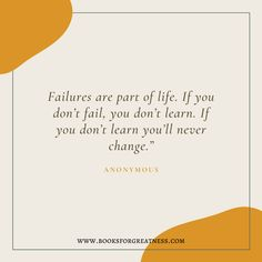 Are you afraid of failure? Do you need a extra boost of motivation to achieve success? Do you want to become more resilient? If yes, you need to read this post. Let these 21 quotes about failure helps you achieve greatness! Failure Quotes, Do You Need, Never Change, Achieve Success, Book Recommendations, Good Books, Fails, 21st, Let It Be