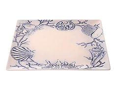 Bandeja de cerámica Shells - azul y blanco