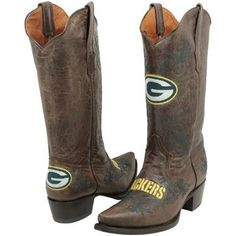 Green Bay Packers Womens Embroidered Cowboy Boots - Brown