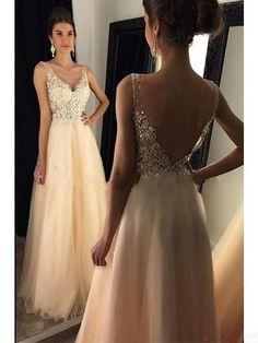V-neck Beading Applique Long Tulle Prom Dresses Evening Dresses · prom dress · Online Store Powered by Storenvy